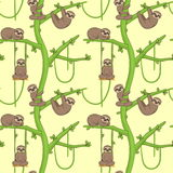 Seamless sloth on tree patern Royalty Free Stock Photo