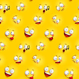 Seamless smiley face pattern with funny facial expressions. In continuous yellow background. Vector illustration Royalty Free Stock Image