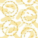 Seamless, smileys and footprints Royalty Free Stock Images