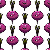 Seamless smiling cartoon beet Stock Photography