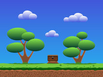 Seamless smooth cartoon game background. Trees on a meadow with grass, coffer on a stump. Sky and clouds. Seamless game background Stock Photography