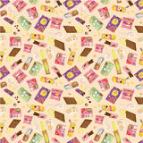 Seamless snacks pattern Royalty Free Stock Photography