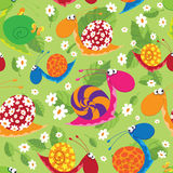 Seamless snails with flowers and leaves Royalty Free Stock Images
