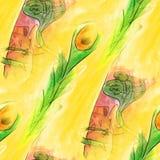 seamless snake, cobra, yellow, green light watercolor artist wal stock illustration
