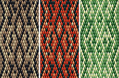 Seamless snakeskin pattern. Set of seamless snakeskin pattern in three color variations drawn with linear gradients Royalty Free Stock Photography