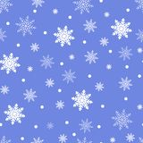 Winter seamless background with flat white snowflakes on a blue Royalty Free Stock Photos