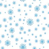 Seamless snow pattern. Simple vector blue snowflakes isolated. On white background. Winter illustration snow stock illustration
