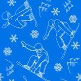 Seamless snowboarder pattern Royalty Free Stock Photo