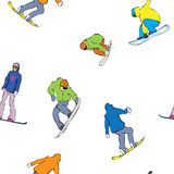 Seamless snowboarders Stock Image