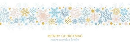 Seamless snowflake border, xmas flake. Seamless snowflake border decoration isolated on white background, Christmas design for greeting postcard. illustration Stock Image