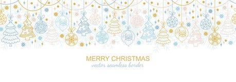 Seamless snowflake border, xmas ornament design. Seamless snowflake border festive decoration isolated on white background, Christmas design. illustration, xmas Royalty Free Stock Photos