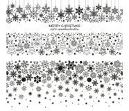 Seamless snowflake border set, Christmas design. Seamless snowflake border set, white background, Christmas design. Vector illustration, merry xmas flake header royalty free illustration