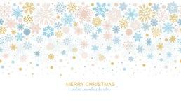 Seamless snowflake border, xmas header or banner. Seamless snowflake border, festive decoration isolated on white background, Merry Christmas design for greeting Royalty Free Stock Photos