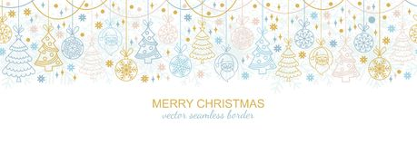 Seamless snowflake border, xmas ornament design. Seamless snowflake border  festive decoration isolated on white background, Christmas design. Vector Stock Photo