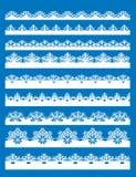 Seamless snowflake borders Stock Photography