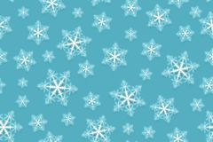 seamless snowflake för modell Snow på blå bakgrund Abstrakt tapet som slår in garnering Symbolvinter, glad jul stock illustrationer