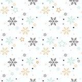 seamless snowflake för modell Snow på blå bakgrund Abstrakt tapet som slår in garnering Symbolvinter, holid för glad jul stock illustrationer