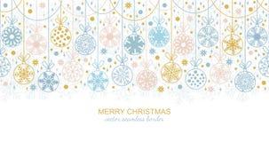 Seamless snowflake border, Christmas design. Seamless snowflake garland border isolated on white background, Christmas design. illustration, merry xmas flake royalty free illustration
