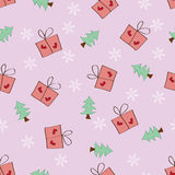 Seamless Snowflake Gift and Tree pattern pink back Stock Photo