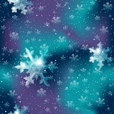 Seamless snowflake pattern in blue and purple Royalty Free Stock Photos