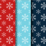 Seamless snowflake pattern collection. Christmas vector backgrounds set. Royalty Free Stock Image