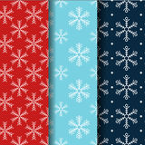 Seamless snowflake pattern collection.  Stock Images
