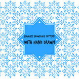 Seamless snowflake pattern with hand drawn vector Stock Images