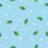 Seamless snowflake and tree pattern blue backgroun Stock Photo