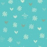 Seamless with snowflakes, hearts and angels Stock Photography