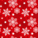 Seamless snowflakes pattern. Red color Stock Images