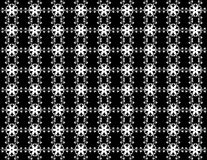 Seamless snowflakes pattern like a flower on background. Christmas seamless pattern from white snowflakes on black background Royalty Free Stock Photo