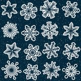 Seamless snowflakes pattern with starry sky Royalty Free Stock Photo
