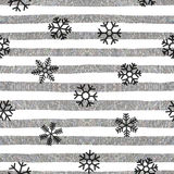 Seamless snowflakes pattern on striped background. Seamless pattern of falling black snowflakes on textured background of silver and white stripes. Elegant Royalty Free Stock Photos