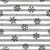Seamless snowflakes pattern on striped background Royalty Free Stock Photos