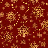 Seamless snowflakes and stars, winter pattern. Red golden snowflakes, winter texture that will tile seamlessly. 3 global colors, artwork grouped and layered Stock Photo