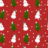 Seamless snowman and fir-trees pattern. With snow Stock Image