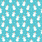 Seamless snowmans pattern Royalty Free Stock Image