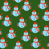Seamless snowmen pattern Stock Photos