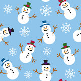 Seamless Snowmen and Snow. A seamless pattern of snowmen and snowflakes Stock Image