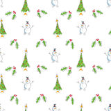 Seamless Snowmen with Trees and Holly. A seamless pattern of alternating cartoon snowmen, holly and Christmas trees Stock Photos