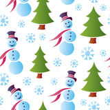 Seamless Snowy Snowmen Royalty Free Stock Image