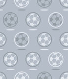Seamless soccer ball  pattern over gray Stock Photo