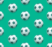 Seamless soccer ball  pattern over green Royalty Free Stock Photo