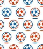 Seamless soccer  ball pattern over white Stock Image