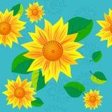 seamless solros Vektor Illustrationer