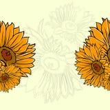seamless solros för modell stock illustrationer