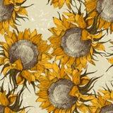 seamless solrosor för prydnad royaltyfri illustrationer