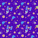 Seamless Space Doodle Stock Photography