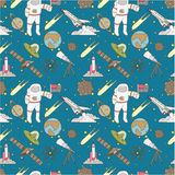 Seamless Space pattern. Vector illustration Royalty Free Stock Images
