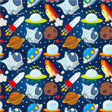 Seamless space pattern. Drawing Stock Image